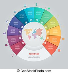 Vector pie chart template for graphs, charts, diagrams....