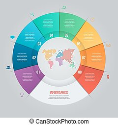 Vector pie chart template for graphs, charts, diagrams. Business circle infographic concept with 8 options, parts, steps, processes with world map inside.