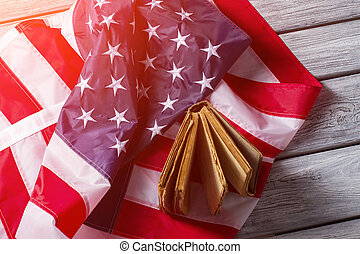 americano, bandeira, e, antigas, book.,