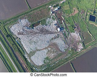 View landfill birds-eye view. Landfill for waste storage....