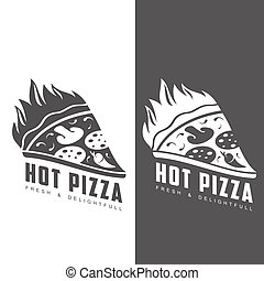piece of burning pizza logo