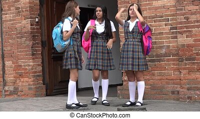 Teen Female Students Standing And Talking