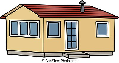 Yellow small house - Hand drawing of a funny yellow small...