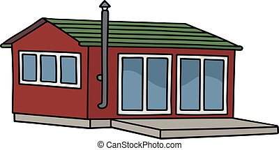 Dark red small house - Hand drawing of a funny dark red...
