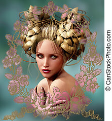 The Girl with the Golden Leaves Headdress, 3d CG - 3d...