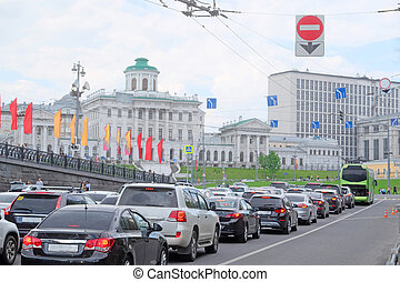 traffic in the center of Moscow - Moscow, Russia - May, 6,...