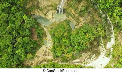 Pit and waterfall. Philippines. Aerial View. - Pit and...
