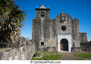 the chape at presidio la bahia texas - the stone built...