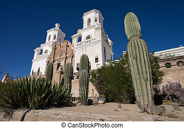 saguaros in front of san xavier mission tucson arizona - the...