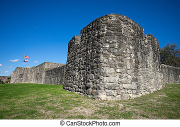 stone walls of southern texas fort Presidio la Bahia in...