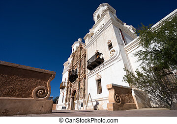 the san xavier del bac mission in tucson arizona - low angle...