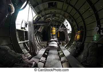 inside a world war two bomber aircraft - the interior of a...