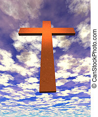 Cross suspended in sky