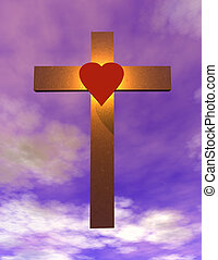Cross suspended in sky with heart