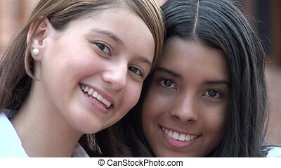 Pretty Teen Girls Smiling