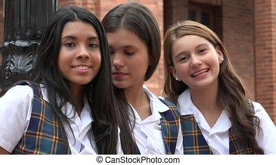 Happy Teen Girls Smiling