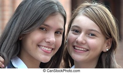 Happy Teen Girls Smiling