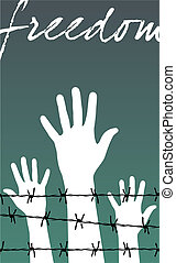 hands behind a barbed wire prison with the word Freedom -...