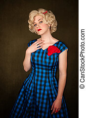 Pretty Retro Blonde Woman - Pretty retro blonde woman in...
