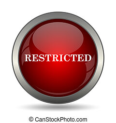 Restricted icon Internet button on white background