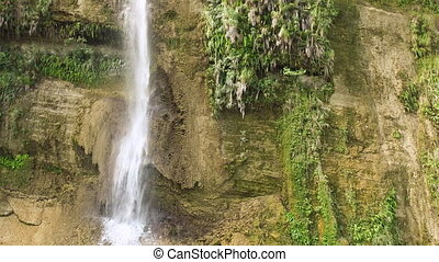 Waterfall from ravine. Philippines Aerial view. - Waterfall...