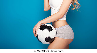 Female sexy girl with ball.