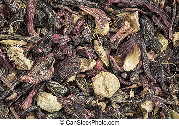 blood circulation and metabolism tea - closeup background of...