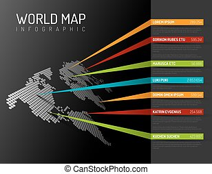 World map infographic template with pointer marks - Dark...