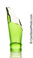 Repulsed the neck green bottle isolated on white background....