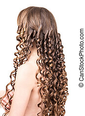 The girl with brown long curly hair isolated on white - The...