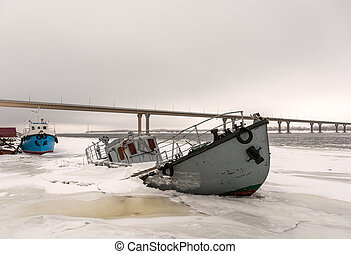 Ship wreck in a frozen river - Boat wreck in a frozen river...