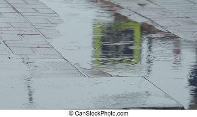 People walking through puddles. Closup shot - People walking...