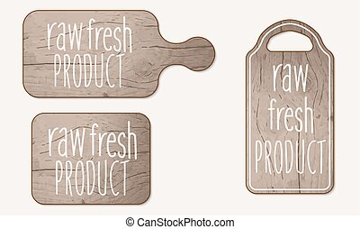 Wooden breadboard and inscription raw fresh product