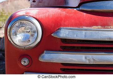 automobile headlight closeup
