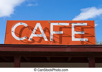 vintage cafe sign on route sixty six in arizona - Vintage...