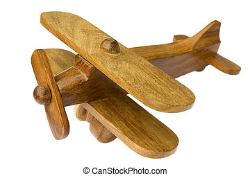 Old wooden toy plane on white background