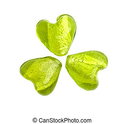 Green heart shaped glass beads making a shamrock (three-leaf...