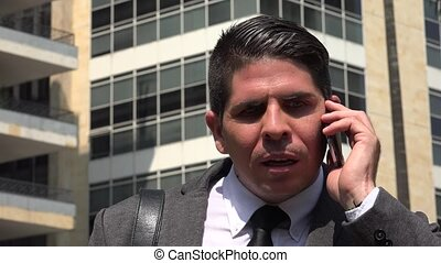Angry Business Man Using Cell Phone