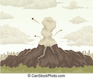 volcano mountain air pollution. - erupting volcano mountain...