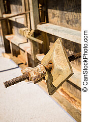 Formwork - Concrete shuttering formwork detail on a...