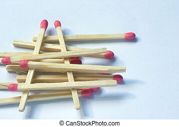 Wooden match sticks stacked one upon the other - Numerous...