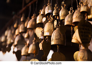 Famous Big Buddha wish bells, Thailand - Famous Big Buddha...