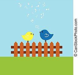 birds - vector birds on the fence