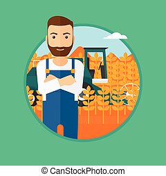 Man standing with combine on background - A hipster man with...