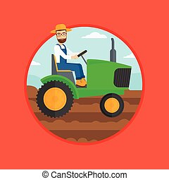 Farmer driving tractor - A hipster man with the beard using...