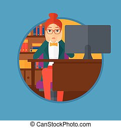 Tired employee sitting in office - A tired woman sitting at...