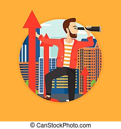 Man with spyglass on rising arrow. - A hipster businessman...