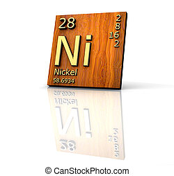Nickel form Periodic Table of Elements - wood board - 3d...