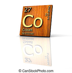 Cobalt form Periodic Table of Elements - wood board - 3d...