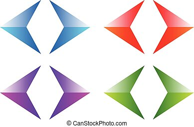 Colorful arrows, arrowheads Shiny, glossy arrow symbols,...